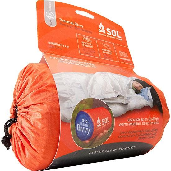 SOL Thermal Bivvy, an emergency survival shelter shown in the packaging