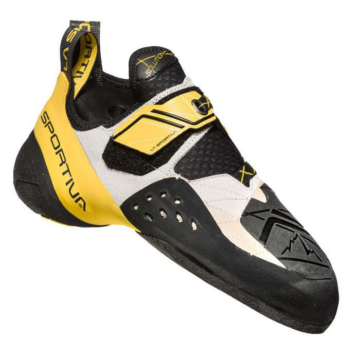 La Sportiva Solution climbing shoe, in black, yellow and white colours