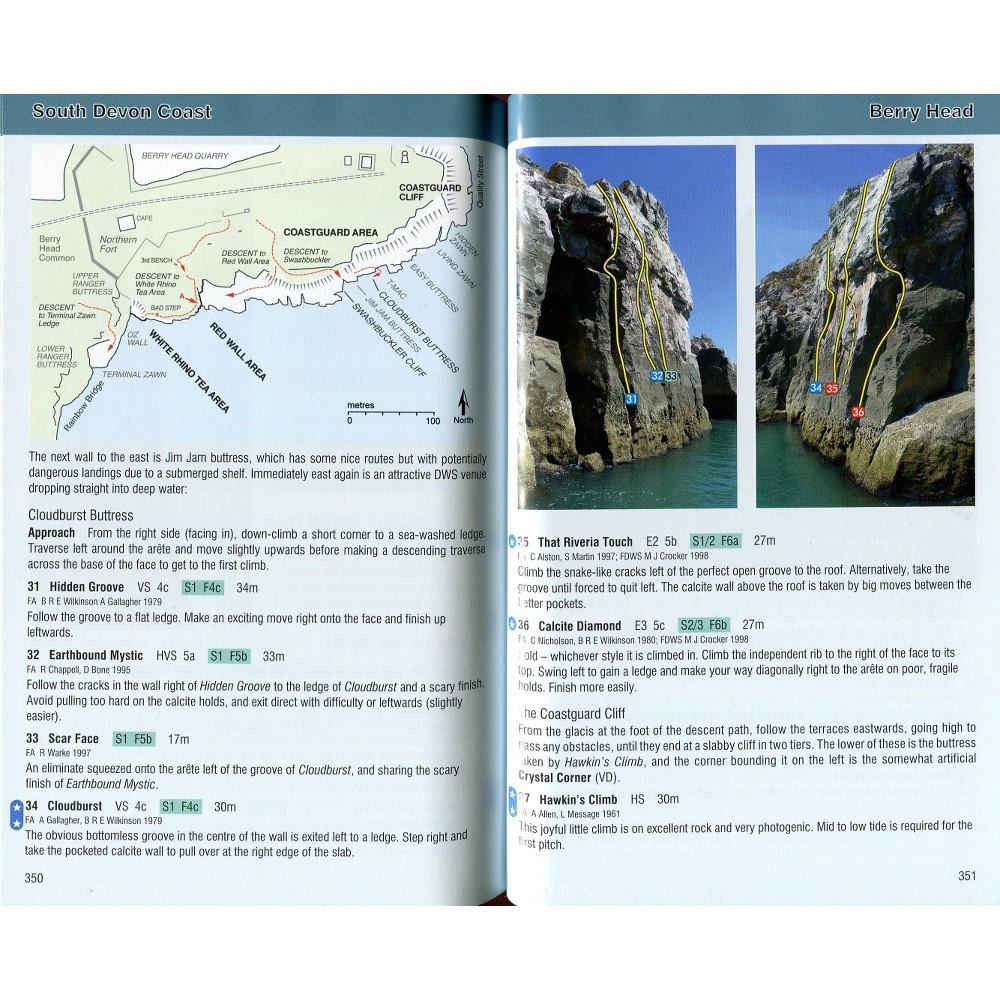 South West Climbs: Volume 2 guide, inside page examples showing maps and photo topos
