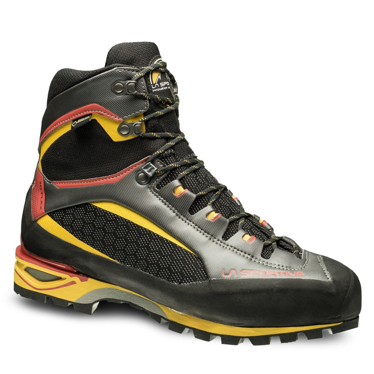 La Sportiva Trango Tower GTX Mountaineering Boot, in black, grey, red and yellow colours