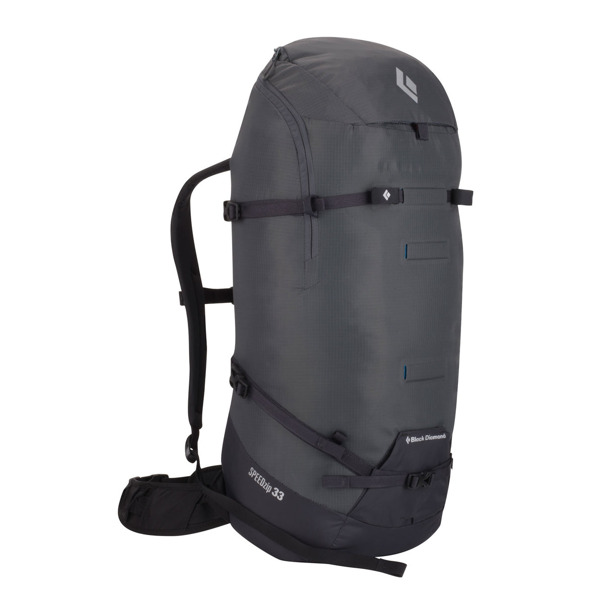 Black Diamond Speed Zip 33 backpack, front/side view in grey and black colours