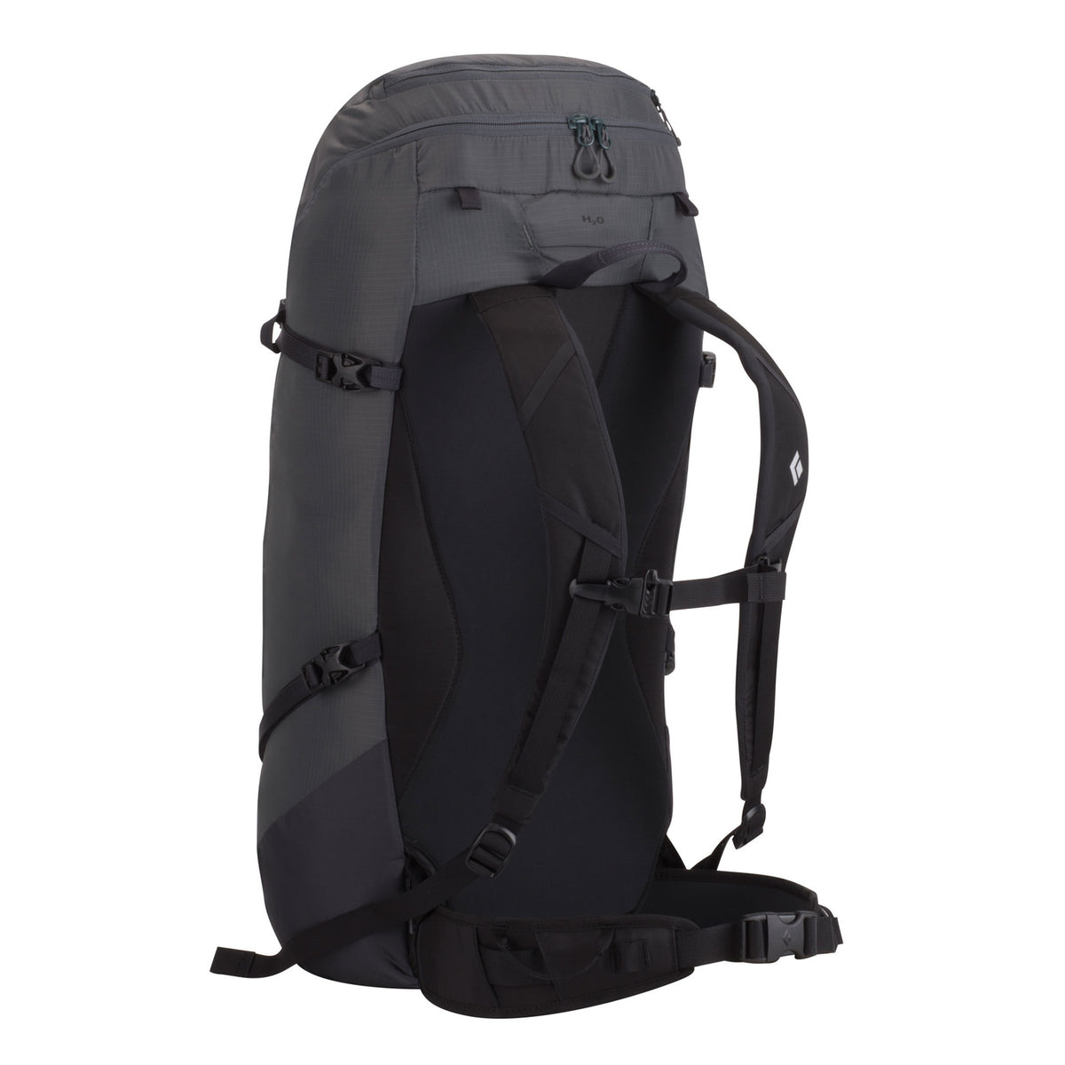 Rear of Black Diamond Speed Zip 33 pack showing strap design detail