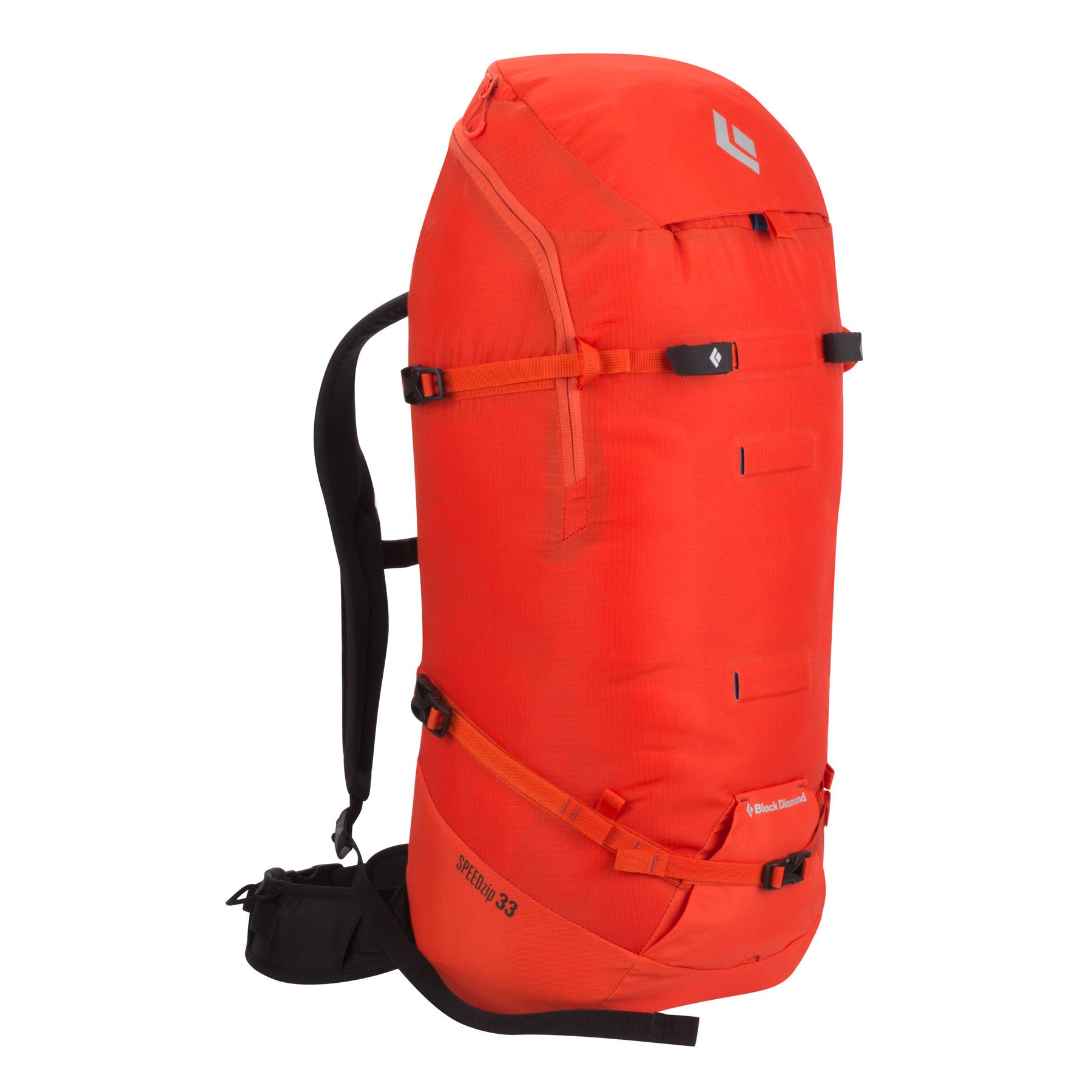 Black Diamond Speed Zip 33 backpack, front/side view in red colour