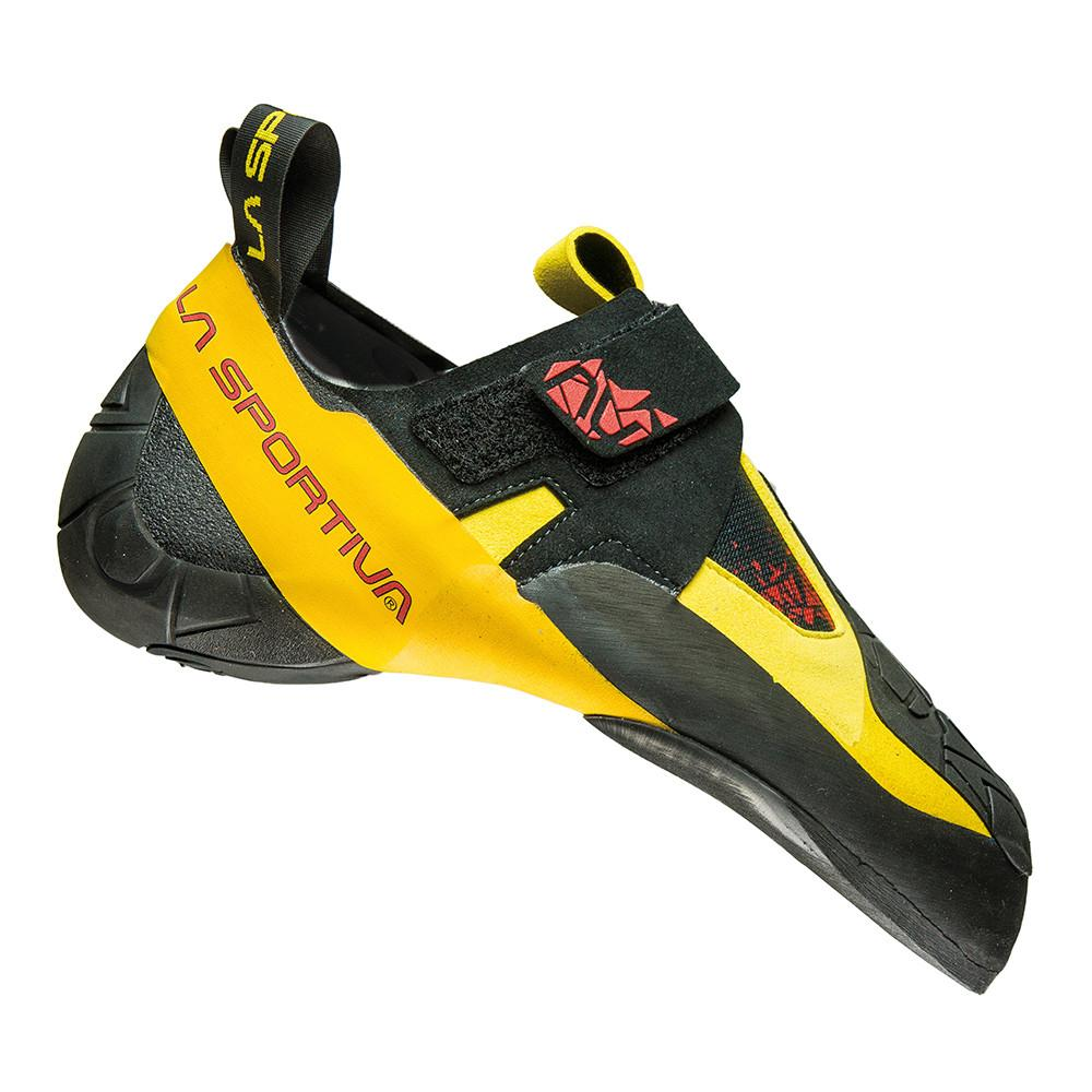 La Sportiva Skwama climbing shoe, in black, yellow and red colours