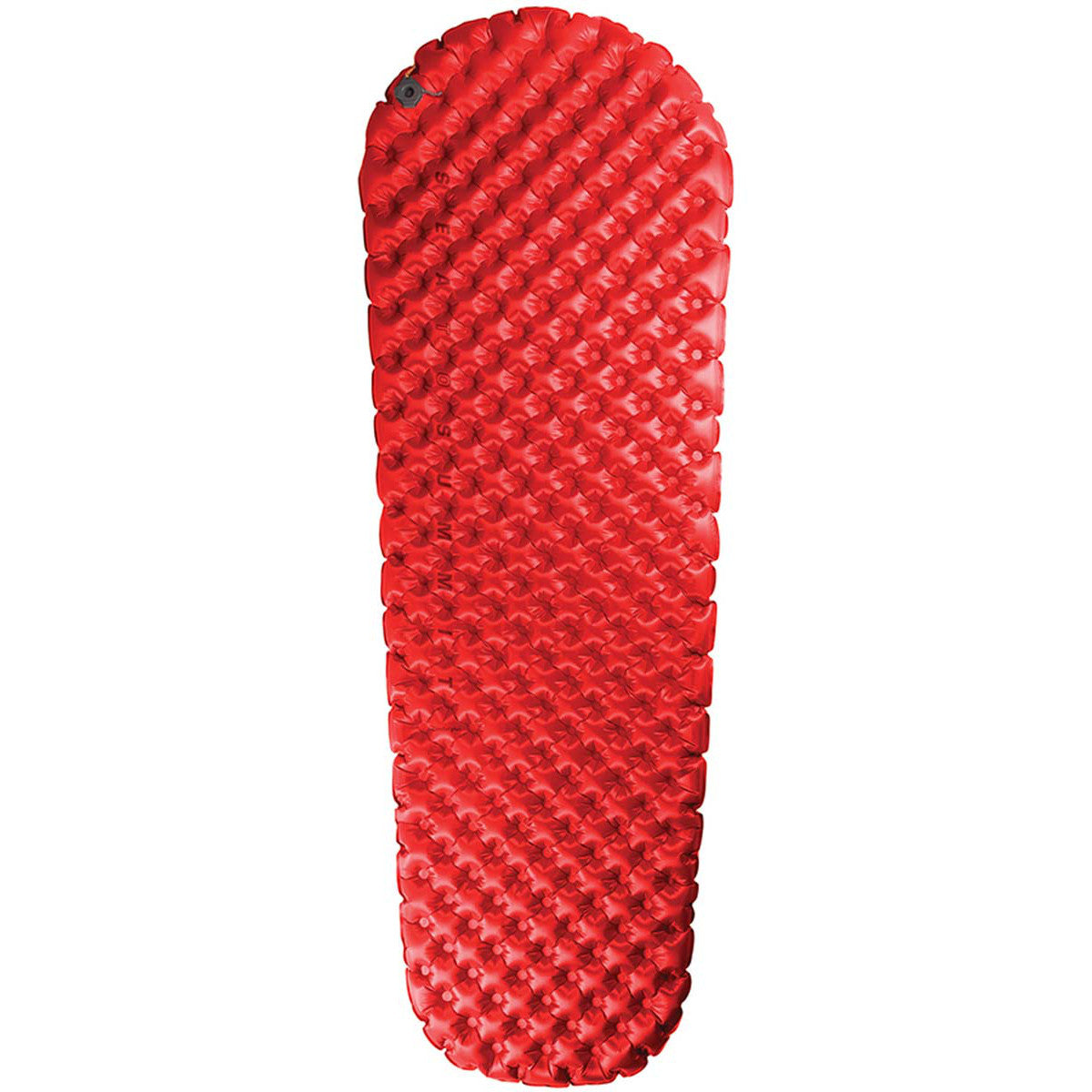 Sea to Summit Comfort Plus Insulated sleeping mat, shown inflated and laid flat in red colour