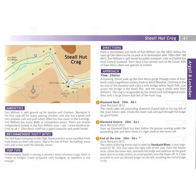 Scottish Sport Climbs guide, insode page examples showing maps and topos