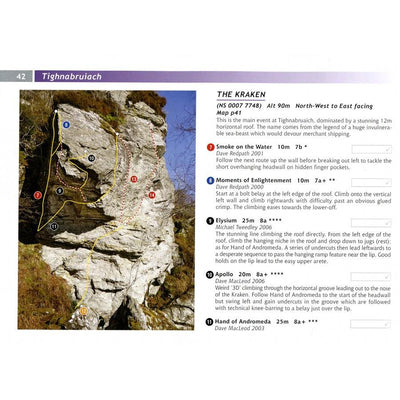 Scottish Sport Climbs guide, inside page examples showing photo-topos and route descriptions