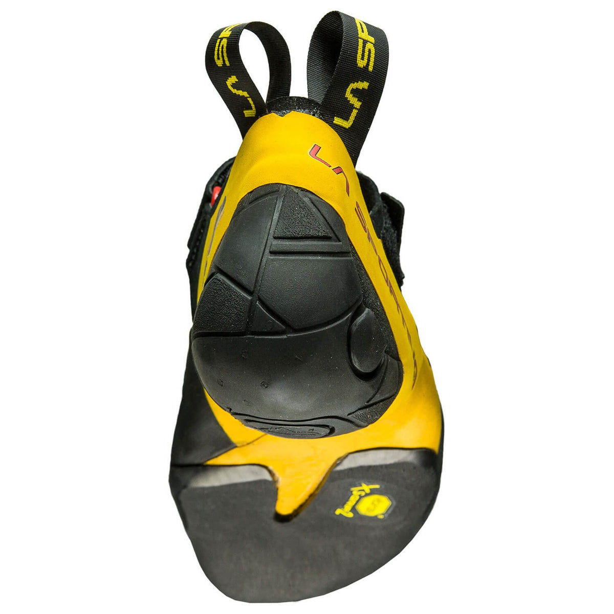 La Sportiva Skwama climbing shoe, rear view showing heel and sole design detail