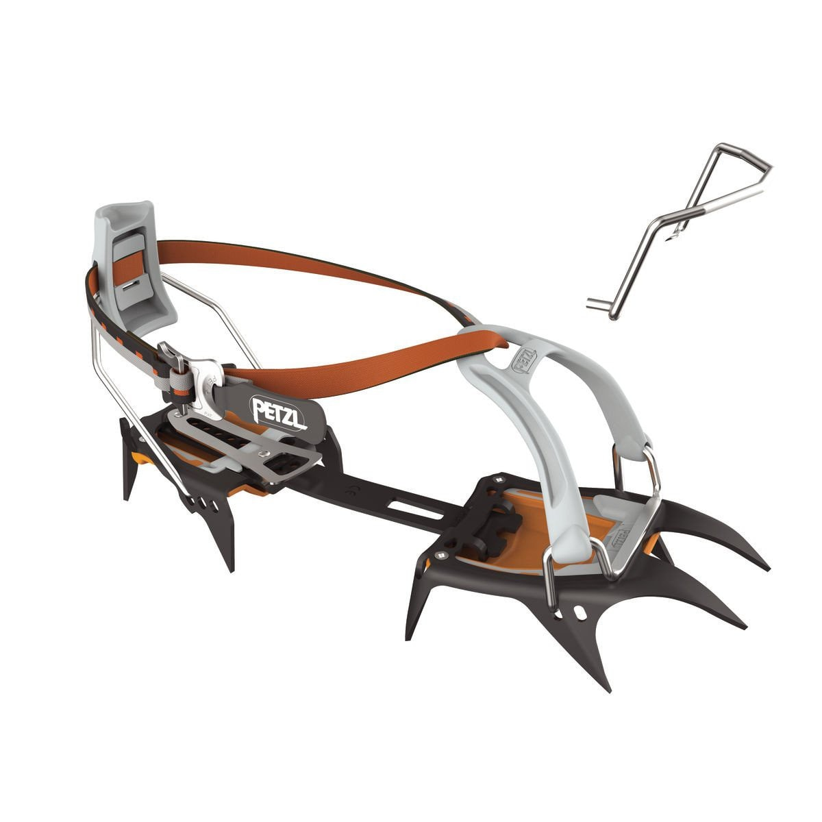Petzl Irvis LeverLock Universal Crampon, in black, orange and silver colours
