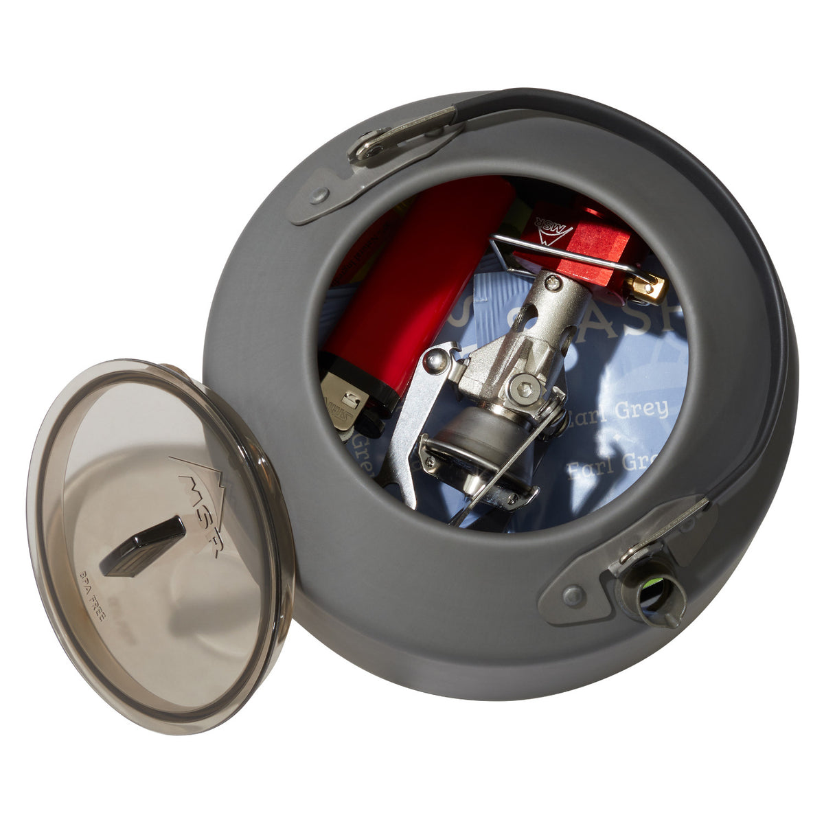 MSR Pika 1.0L Teapot, inside view showing stove storage option