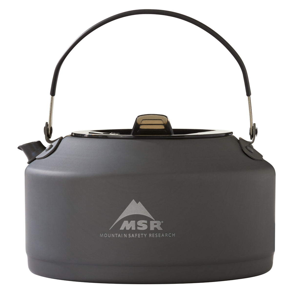 MSR Pika 1.0L Teapot, in dark grey colour with the handle upright