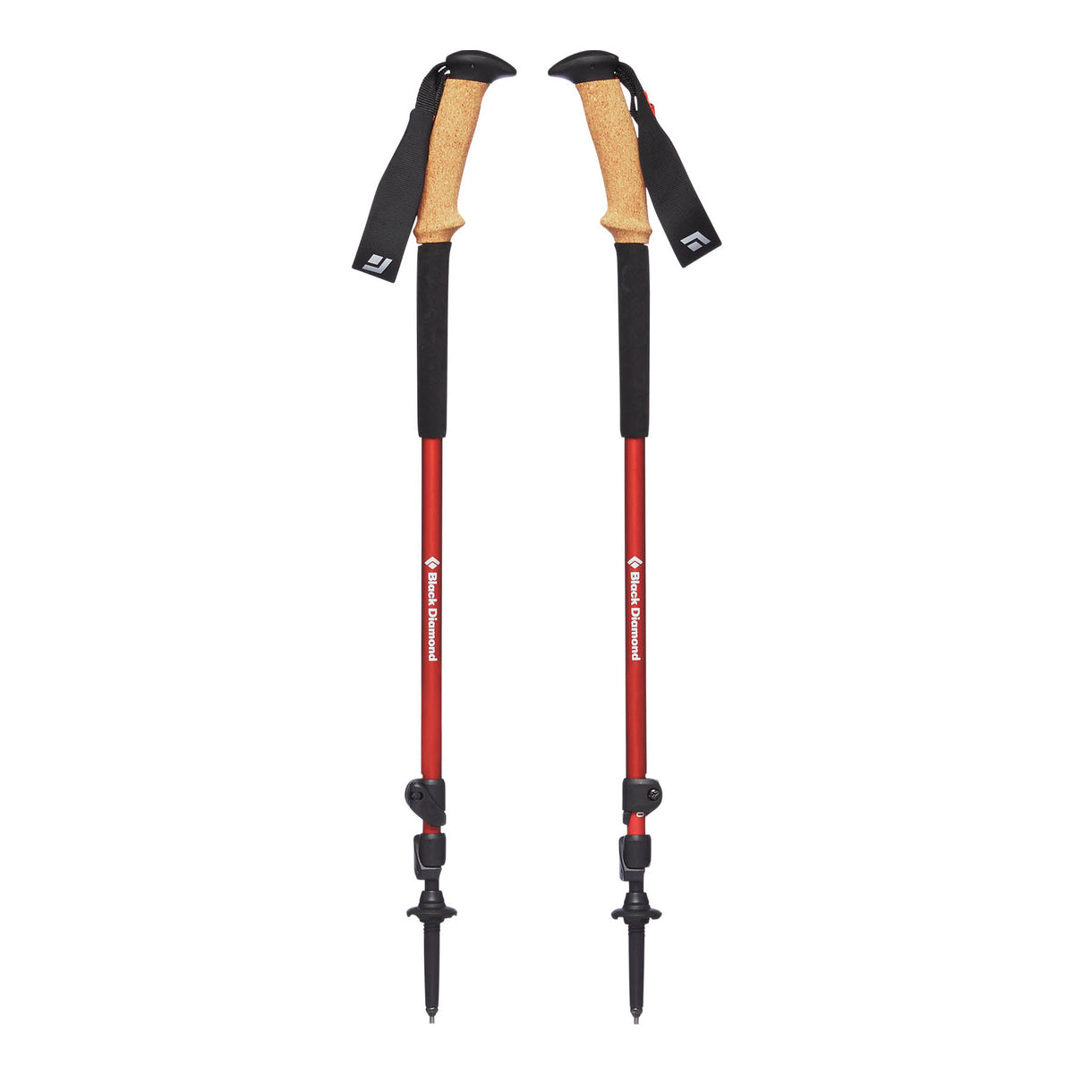 Pair of Black Diamond Trail Ergo Cork poles, shown collapsed with angled cork grips