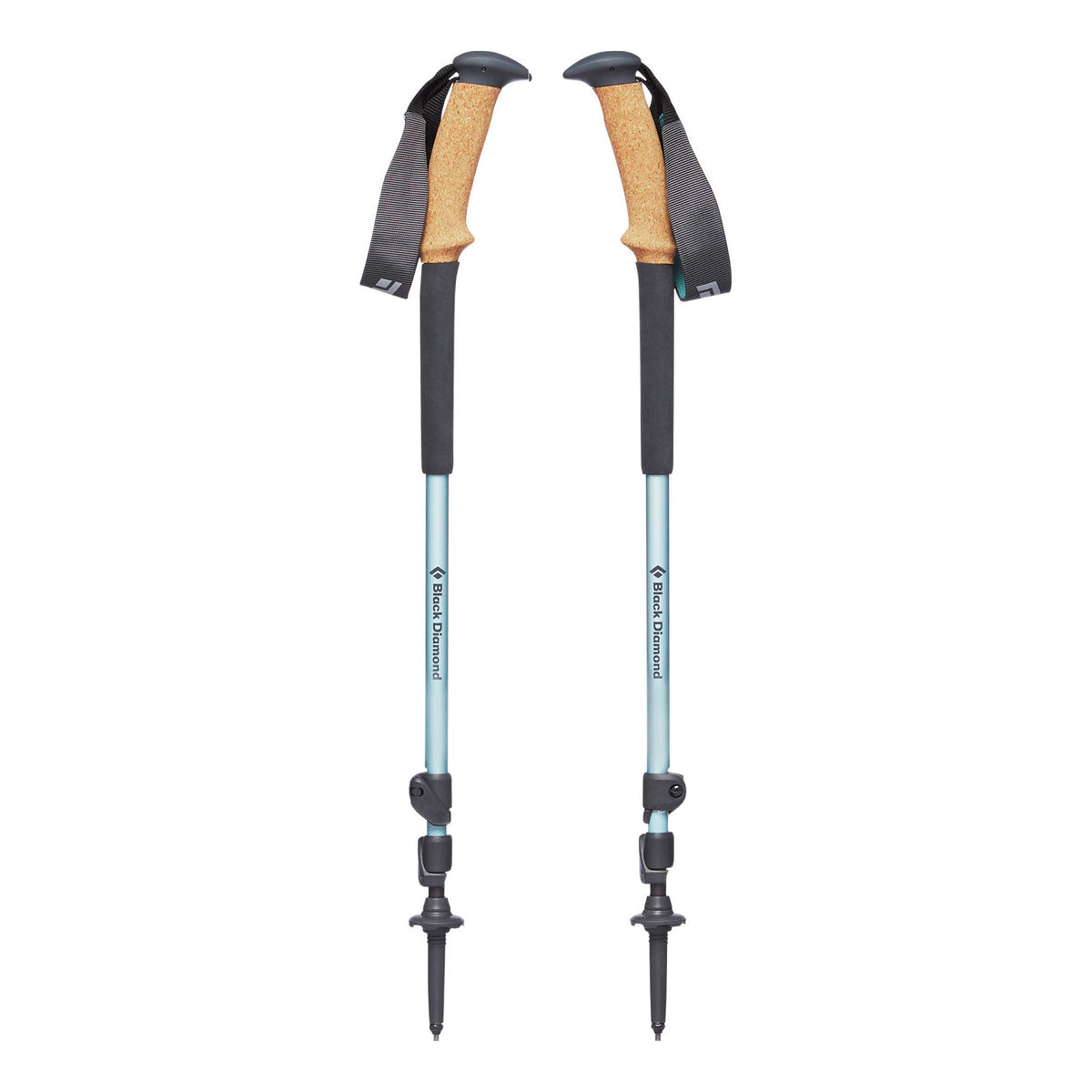 Pair of Black Diamond Trail Ergo Cork Women's poles, shown collapsed with angled cork handle