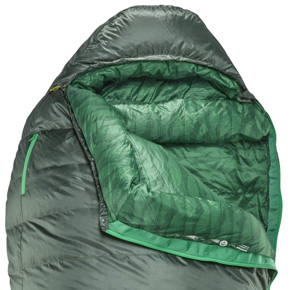Thermarest Questar 32F/0C sleeping bag in dark green open close up