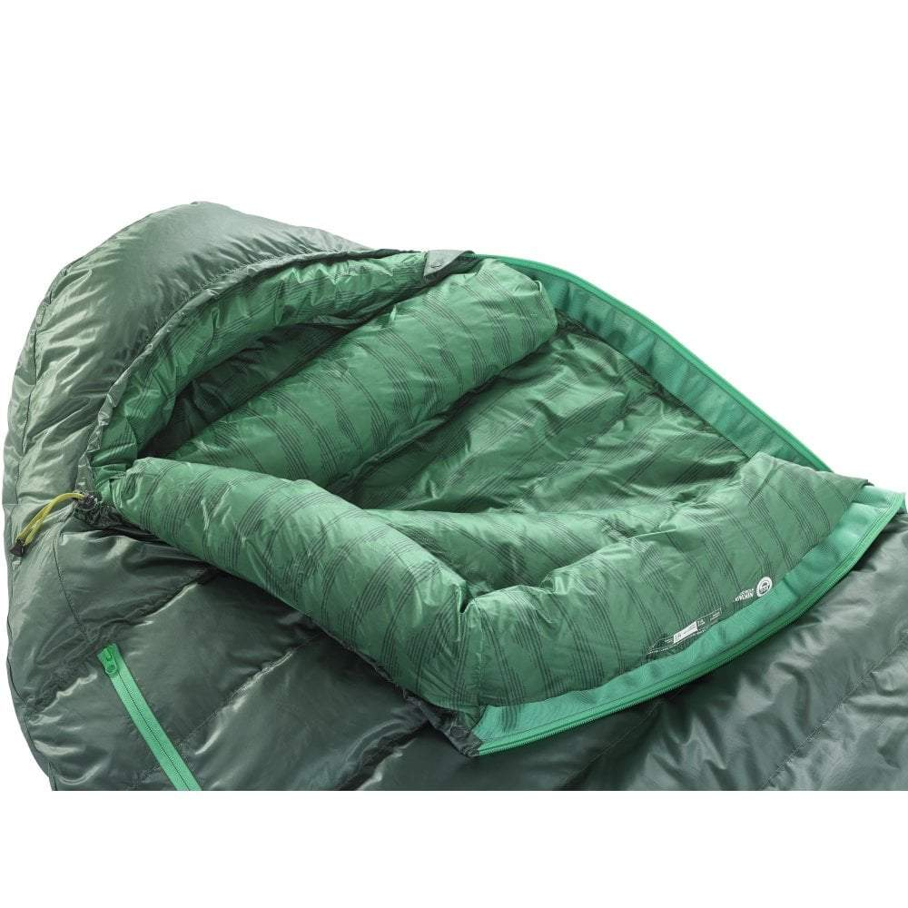 Thermarest Questar 32F/0C sleeping bag in dark green open close up side angle