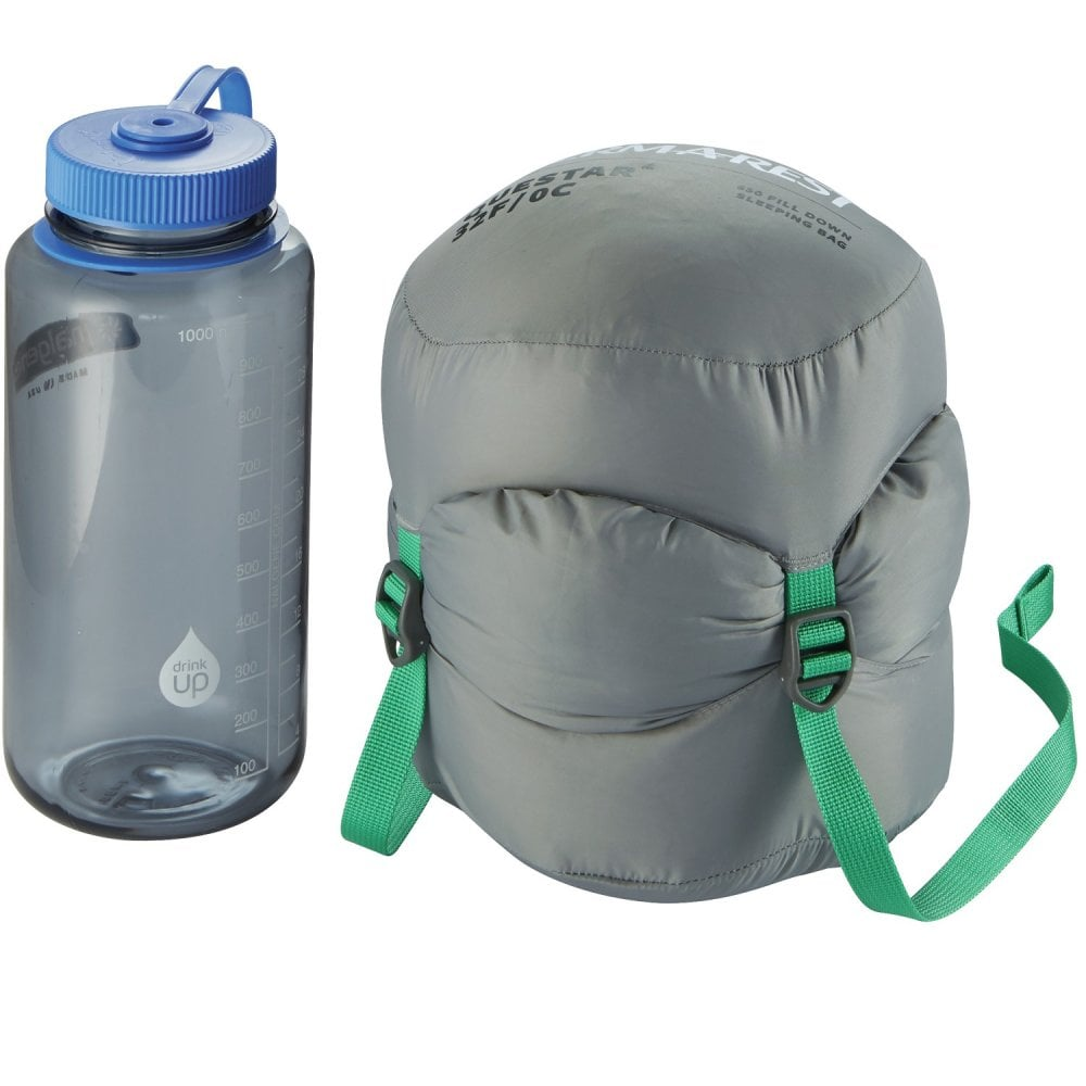 packed up Thermarest Questar 32F/0C sleeping bag in dark green next to nalgene