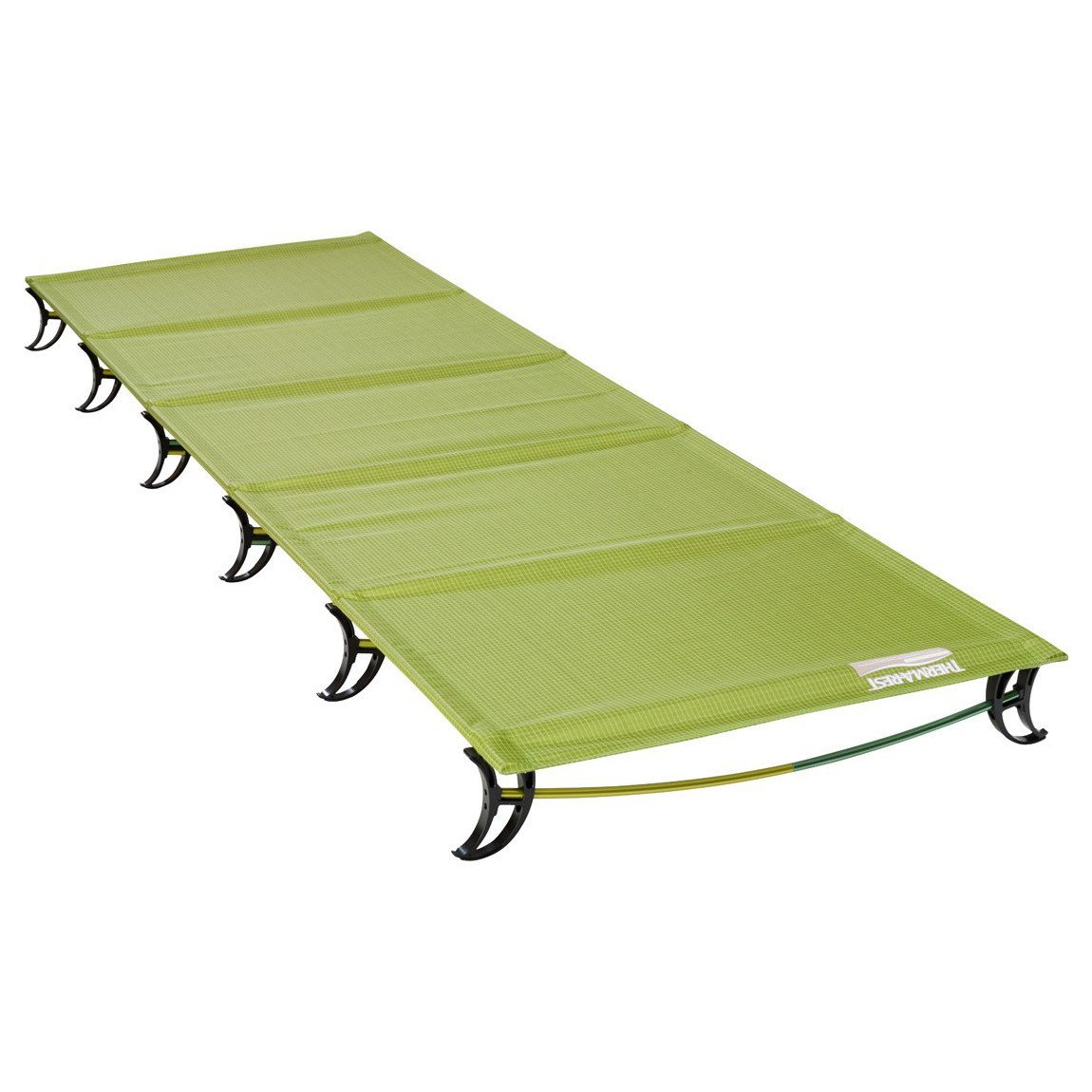 Thermarest Ultralite camping Cot shown set up, in green colour
