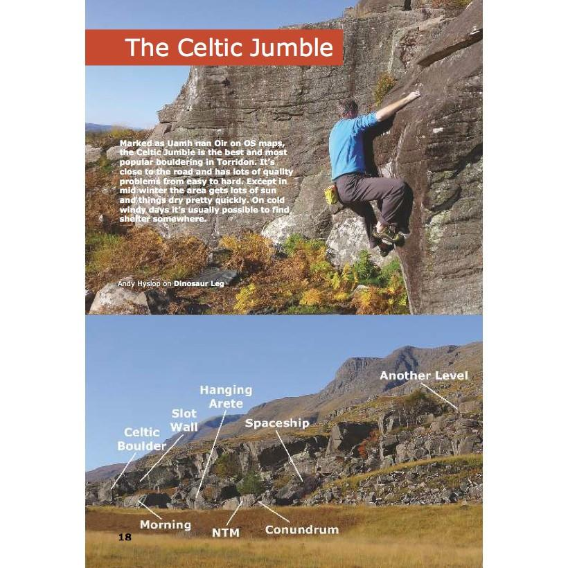 Torridon Bouldering guide, example inside pages showing maps and photo-topos