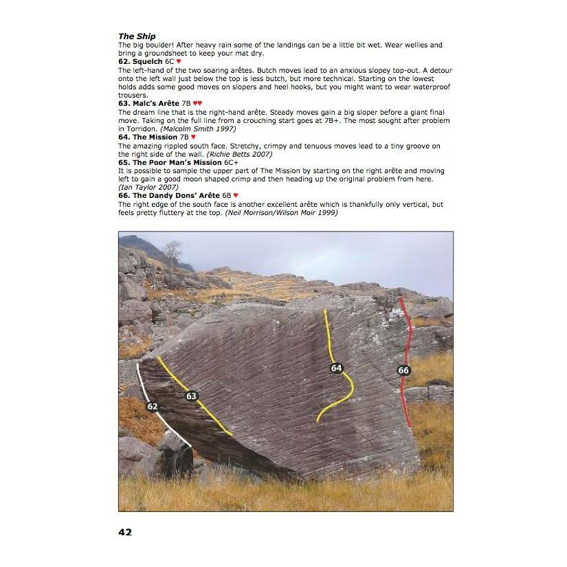 Torridon Bouldering guidebook, example inside pages showing photos and route descriptions