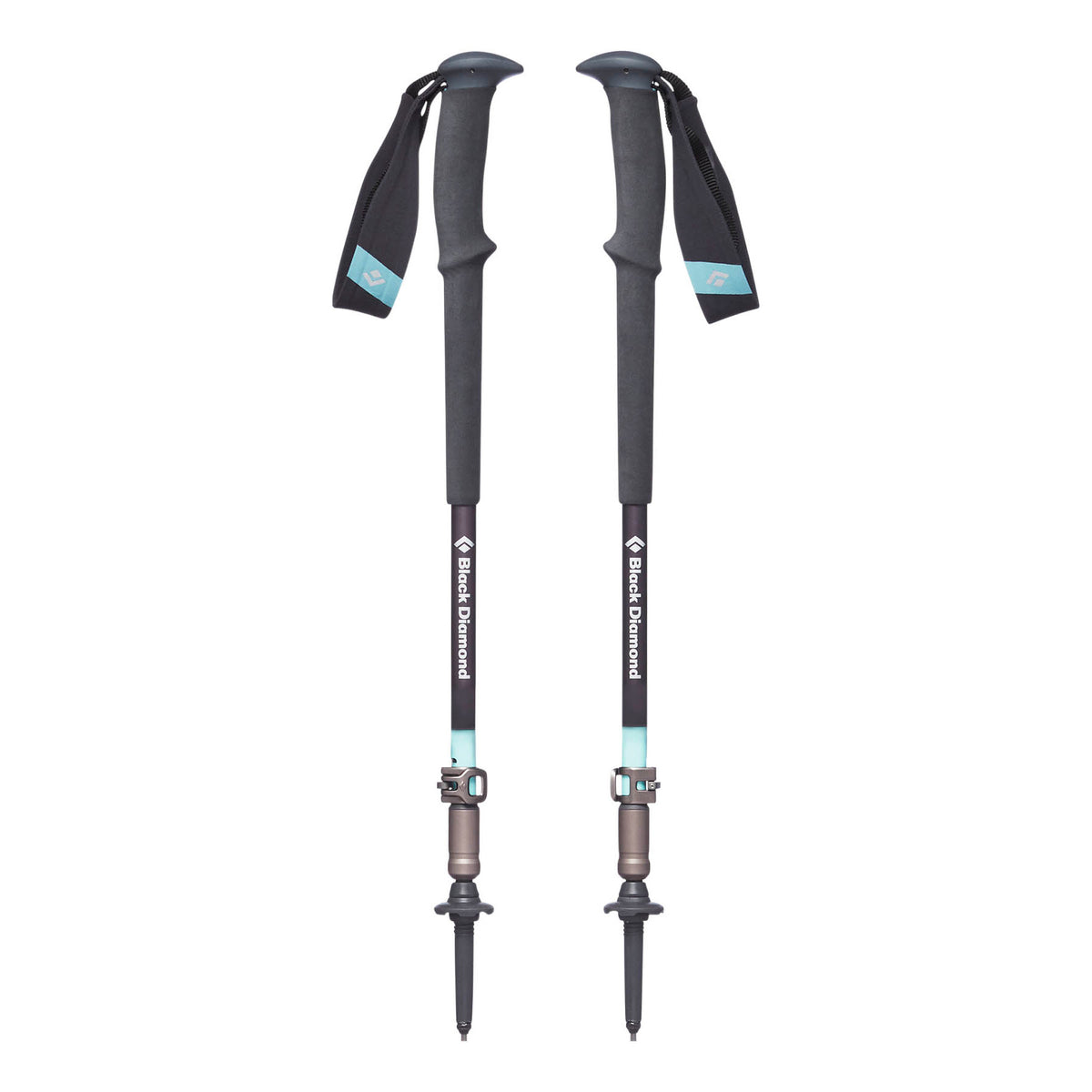 Pair of Black Diamond Trail Pro Womens poles shown collapsed down, in Teal & Grey colours