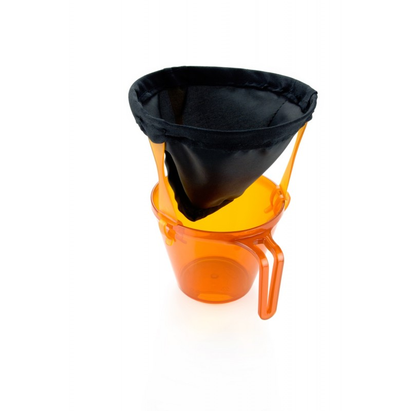 GSI Ultralight Java Drip Coffee Maker, shown over an orange cup
