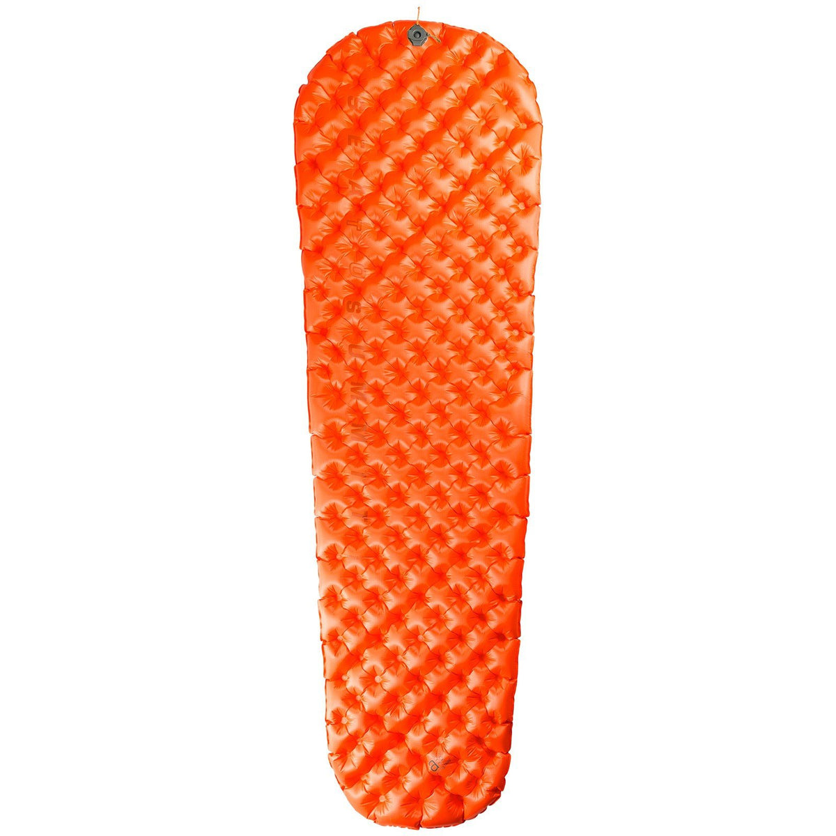 Sea to Summit UltraLight Insulated sleeping mat, shown inflated and laid flat in orange colour