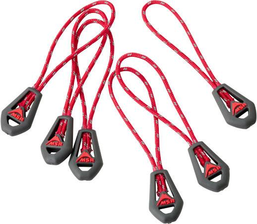MSR Universal Zipper Pulls, 6 pieces shown side by side in red colour