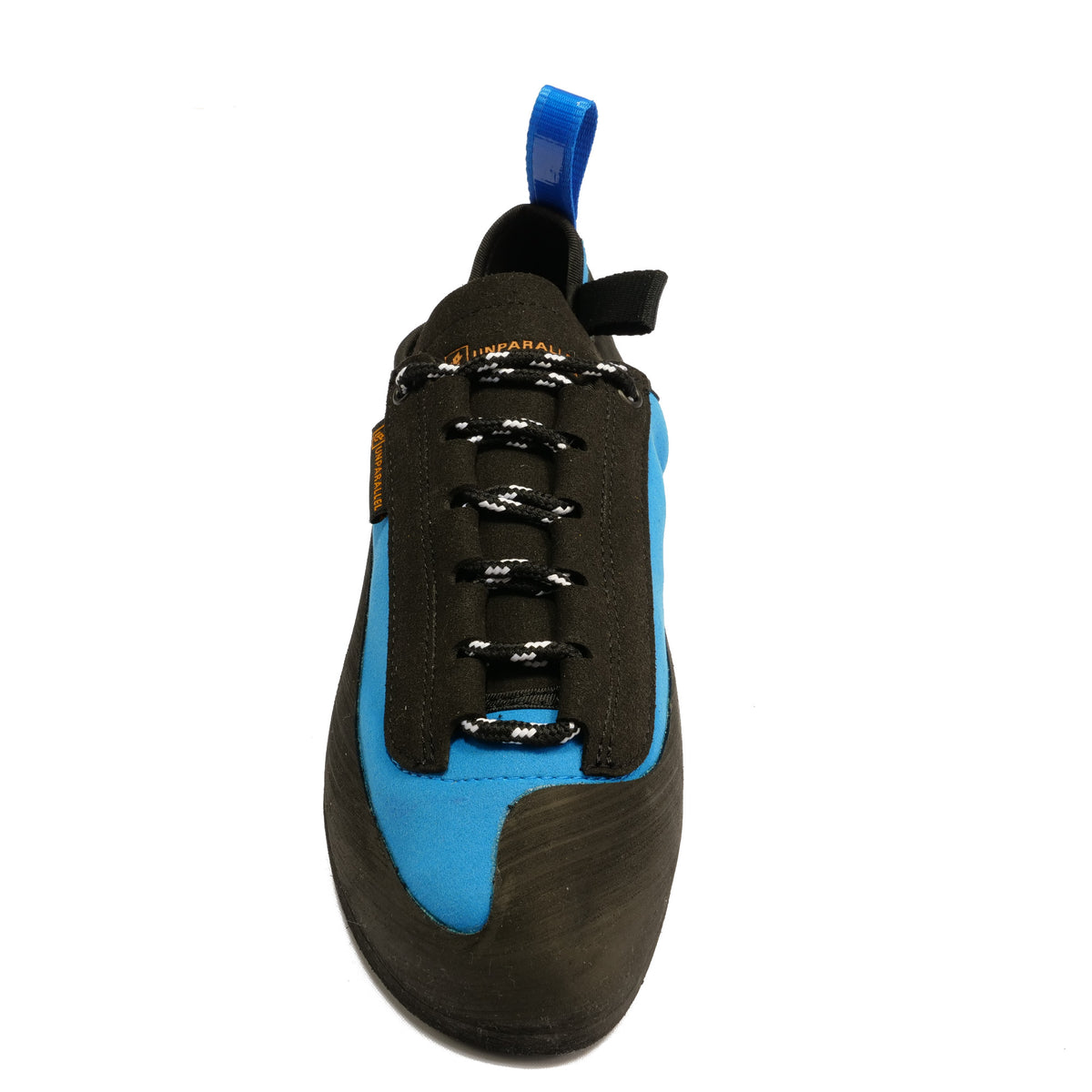 Tilted front view of the Unparallel Up Lace climbing shoe in Blue and black