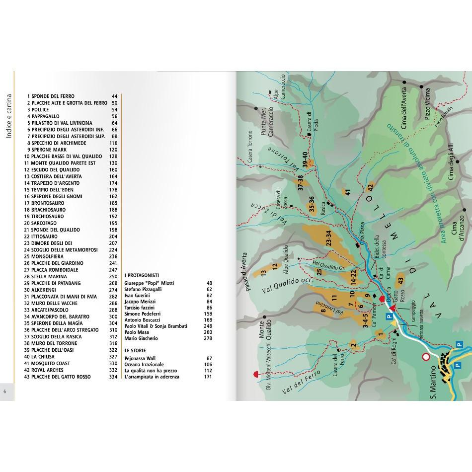 Val Di Mello guide, showing inside page examples of maps and index