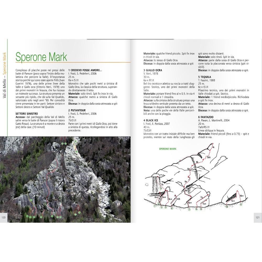 Val Di Mello guide, inside page example showing photo-topos and route descriptions