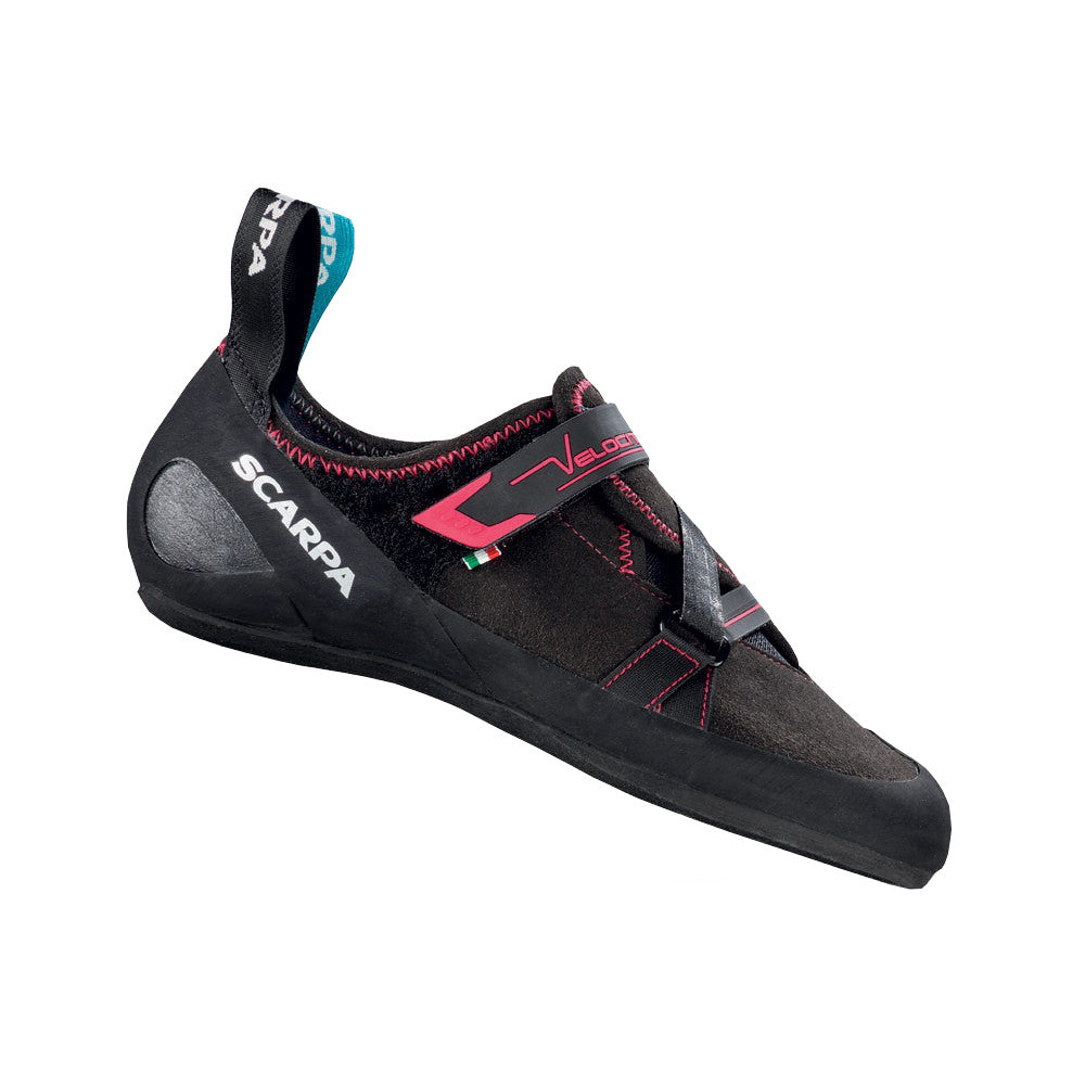Scarpa Velocity V Womens climibng shoe, outer side view in black/red colours