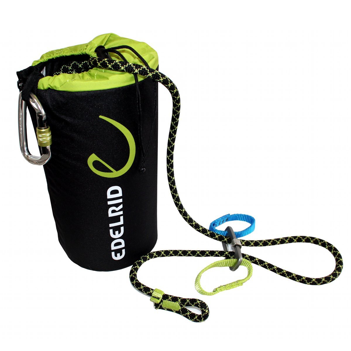 Edelrid Via Ferrata Belay Kit, showing rope bag, lanyard and carabiner in black and green colours