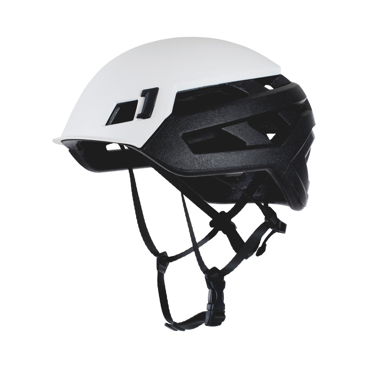 Mammut Wall Rider climbing helmet, inner side view in black and white colours