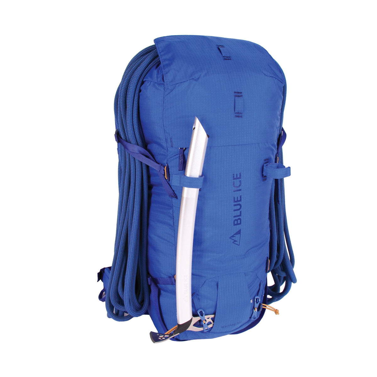 Blue Ice Warthog 30L rucksack, shown with climbing rope and ice pick