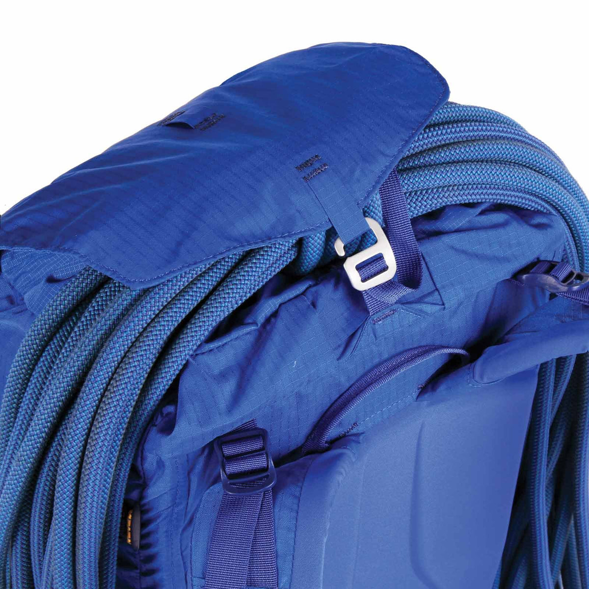 Blue Ice Warthog 30L rucksack, side view showing rope attached