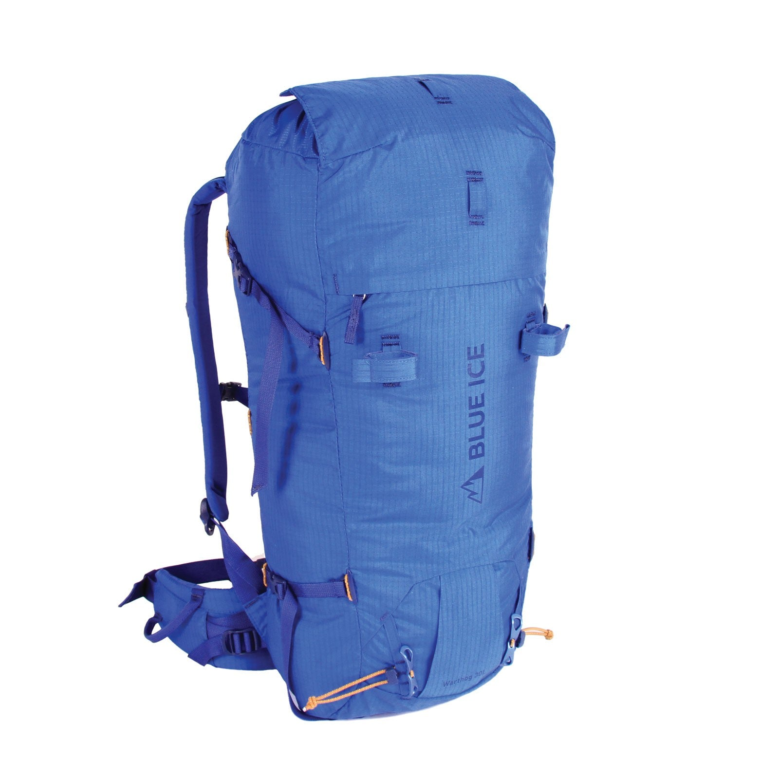 Blue Ice Warthog 30L rucksack, front/side view in blue colour