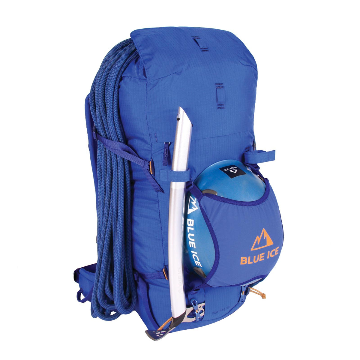 Blue Ice Warthog 30L rucksack, shown with climbing rope and helmet