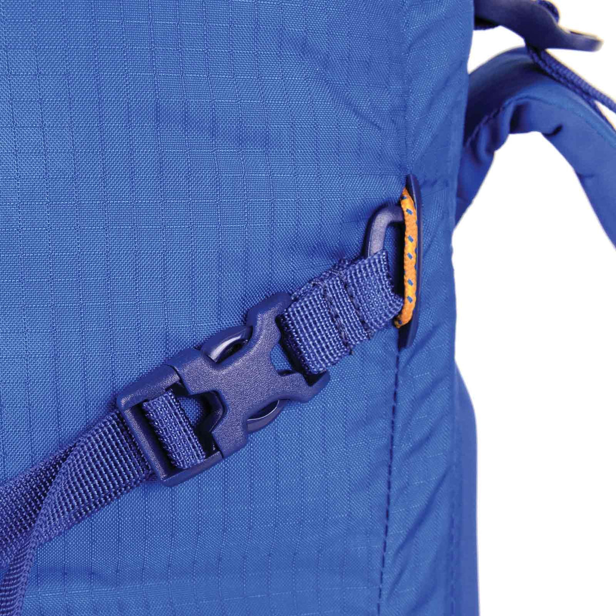 Blue Ice Warthog 30L rucksack in Blue showing the removable side compression strap