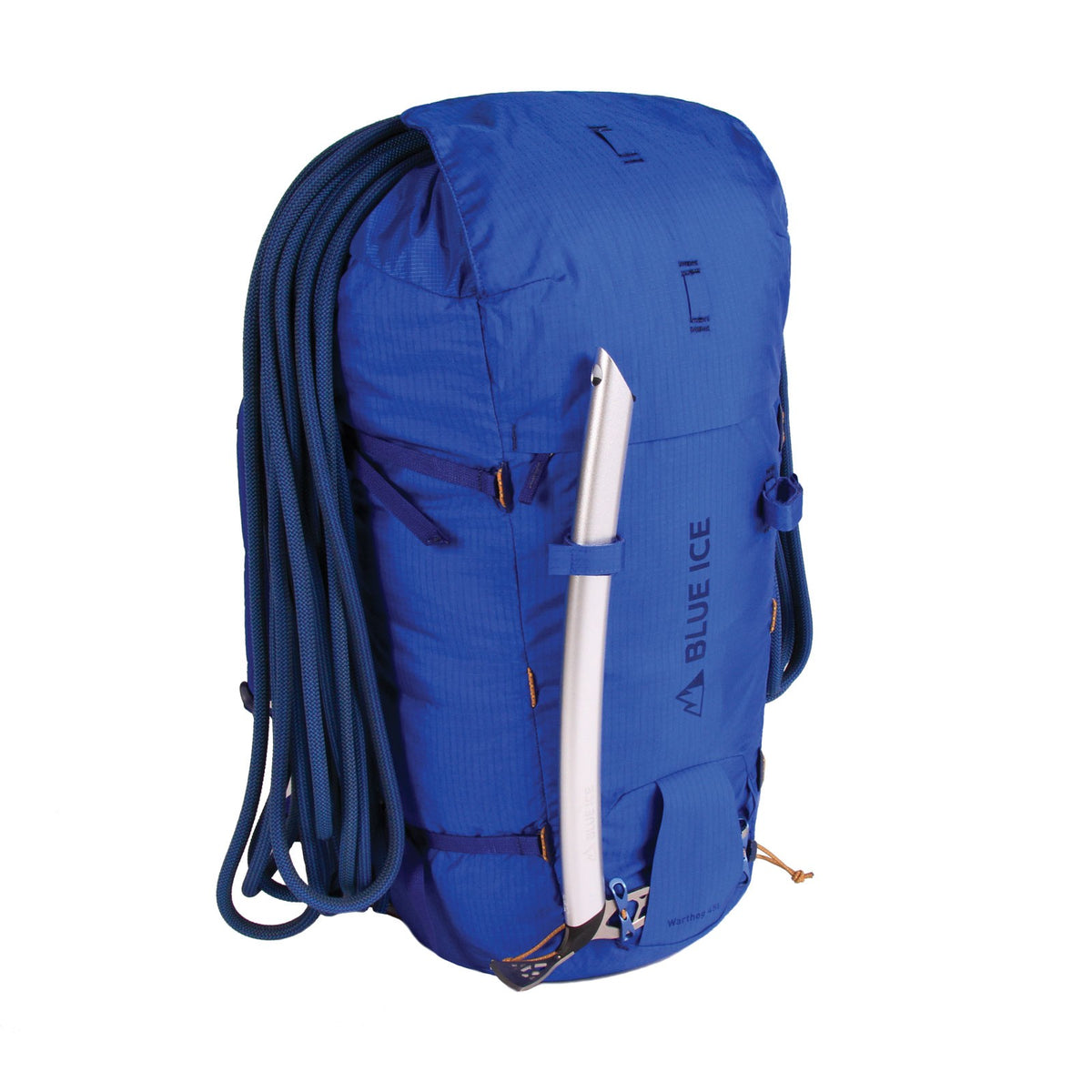 Blue Ice Warthog 45L rucksack, shown with climbing rope and ice pick