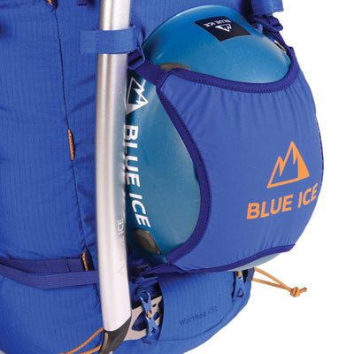 Blue Ice Warthog 45L rucksack, shown with ice tool and climbing helmet