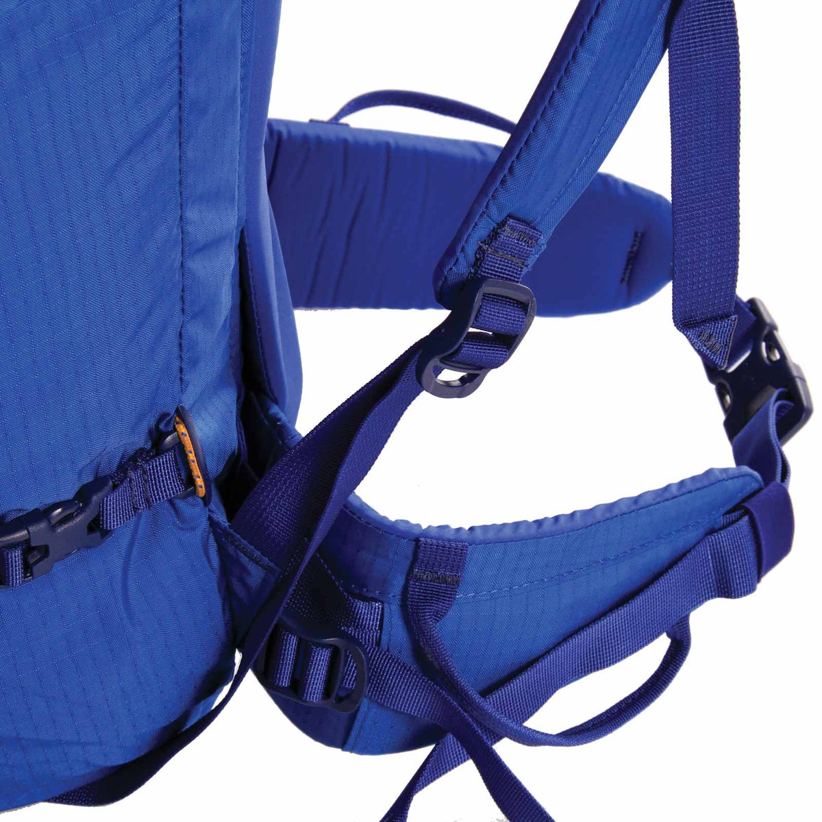 Blue Ice Warthog 45L rucksack, side view close up of hip straps