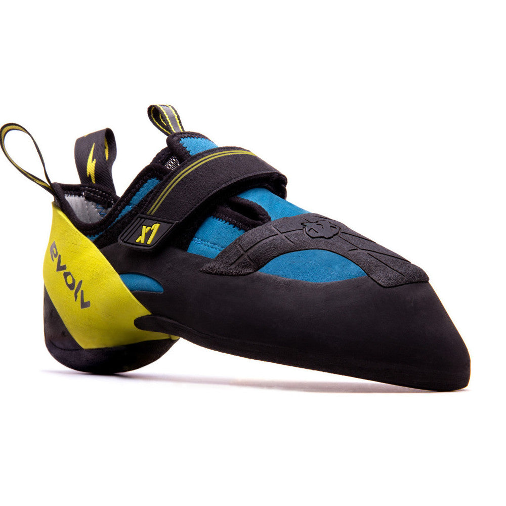 Evolv X1 climbing shoe, in blsck, blue and yellow colours