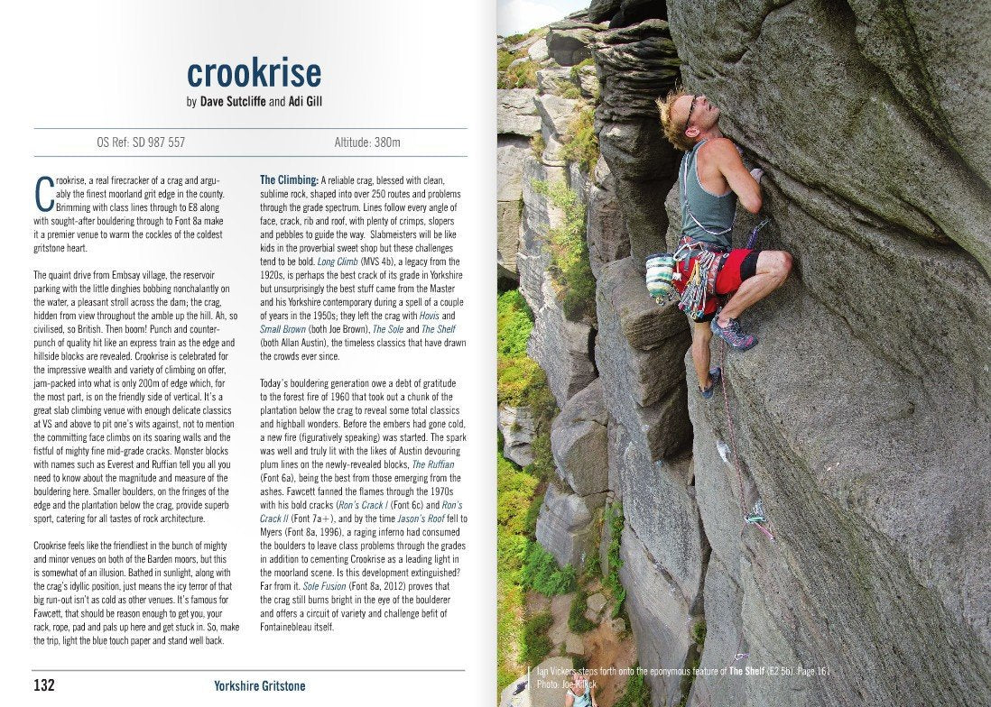 Yorkshire Gritstone Volume 2 (YMC) guidebook, example inside pages showing sector info