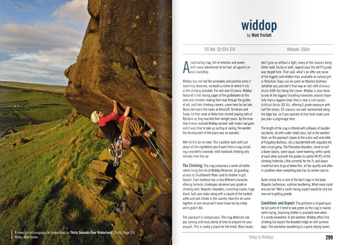 Yorkshire Gritstone Volume 2 (YMC) guidebook, example inside pages showing route descriptions