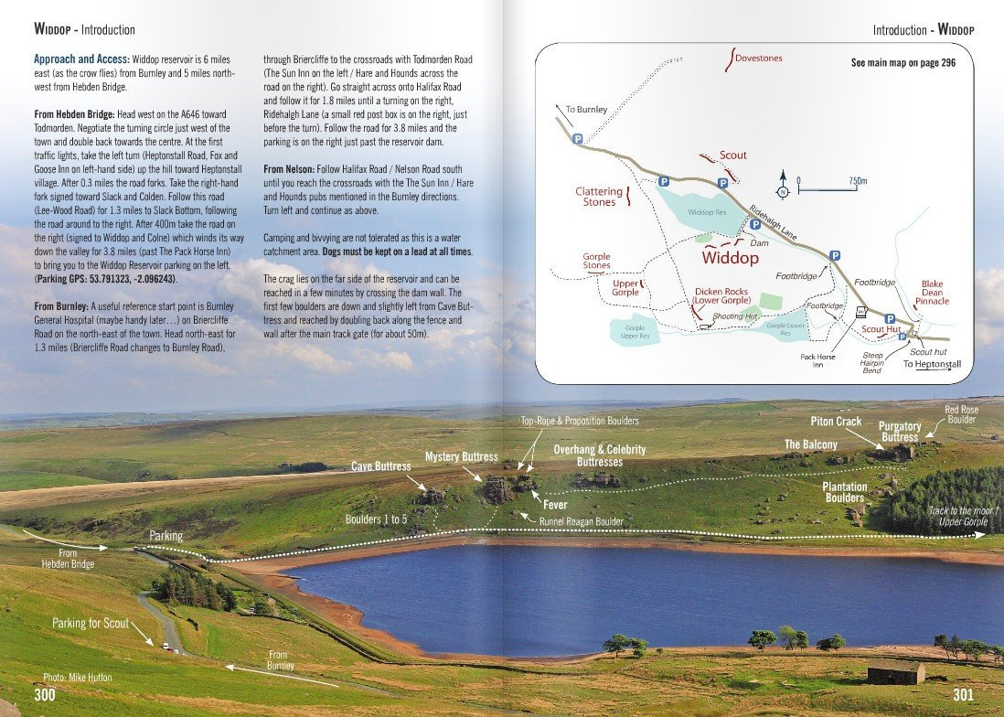 Yorkshire Gritstone Volume 2 (YMC) guidebook, example inside pages showing maps and approach info