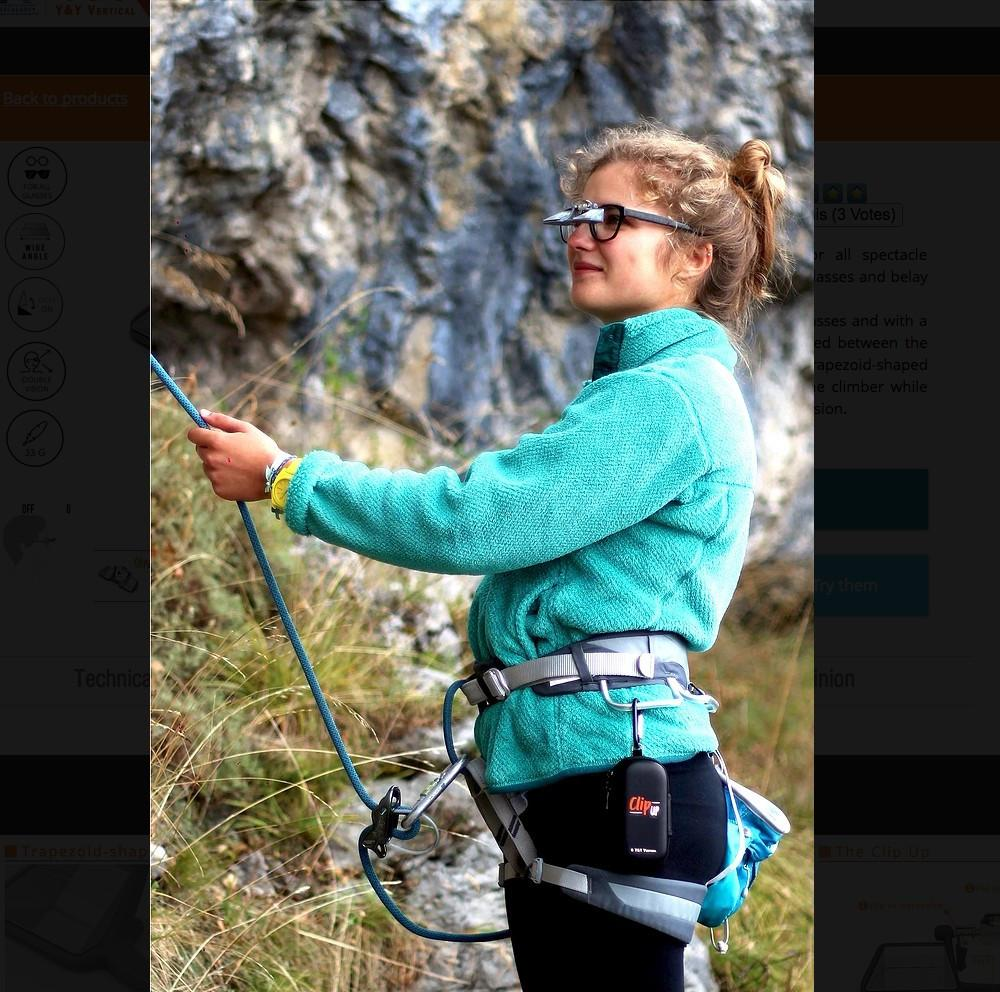 Y&Y Clip Up Belay Glasses, demonstrated in use