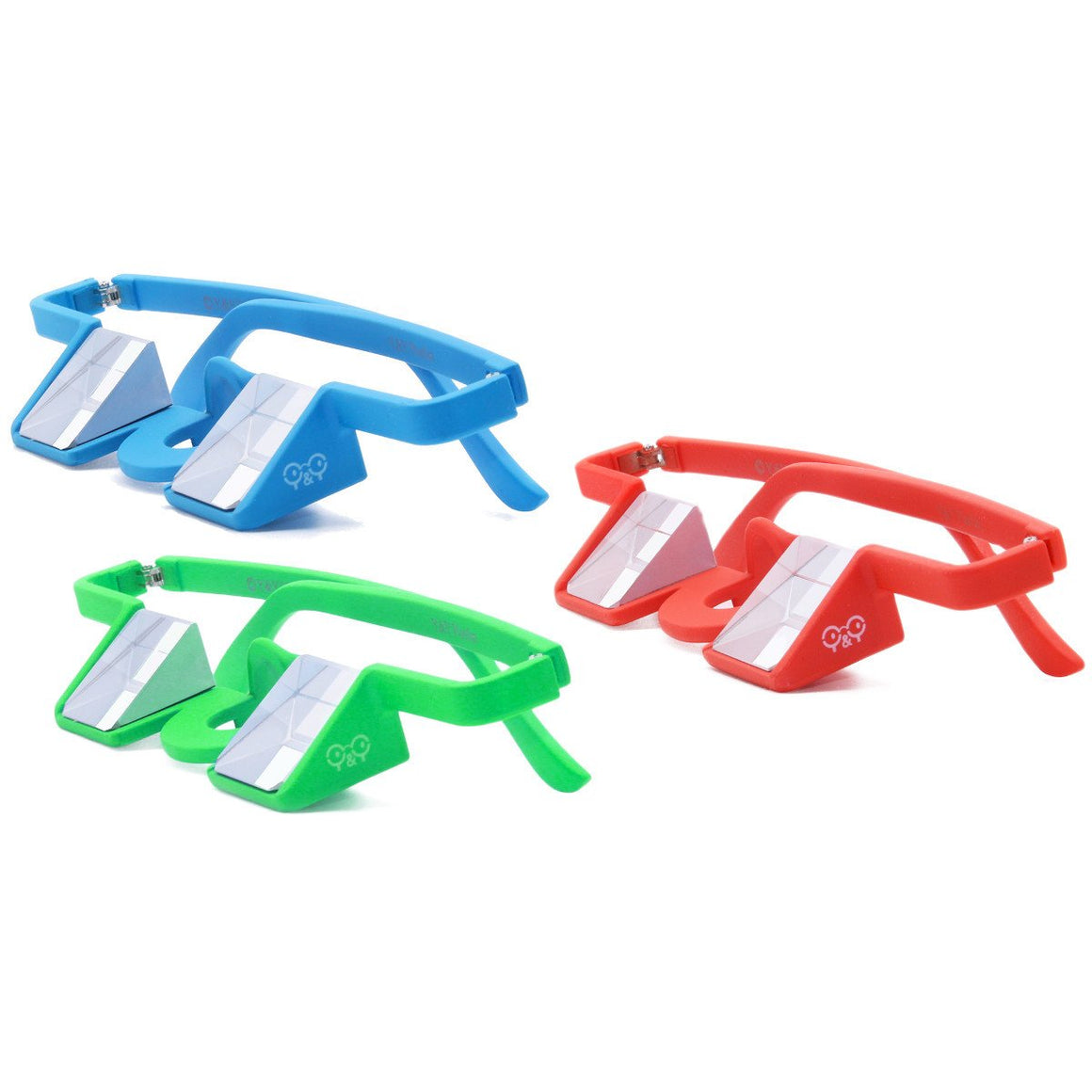 Y&Y Plasfun Belay Glasses for climbing, three colours red, blue and green