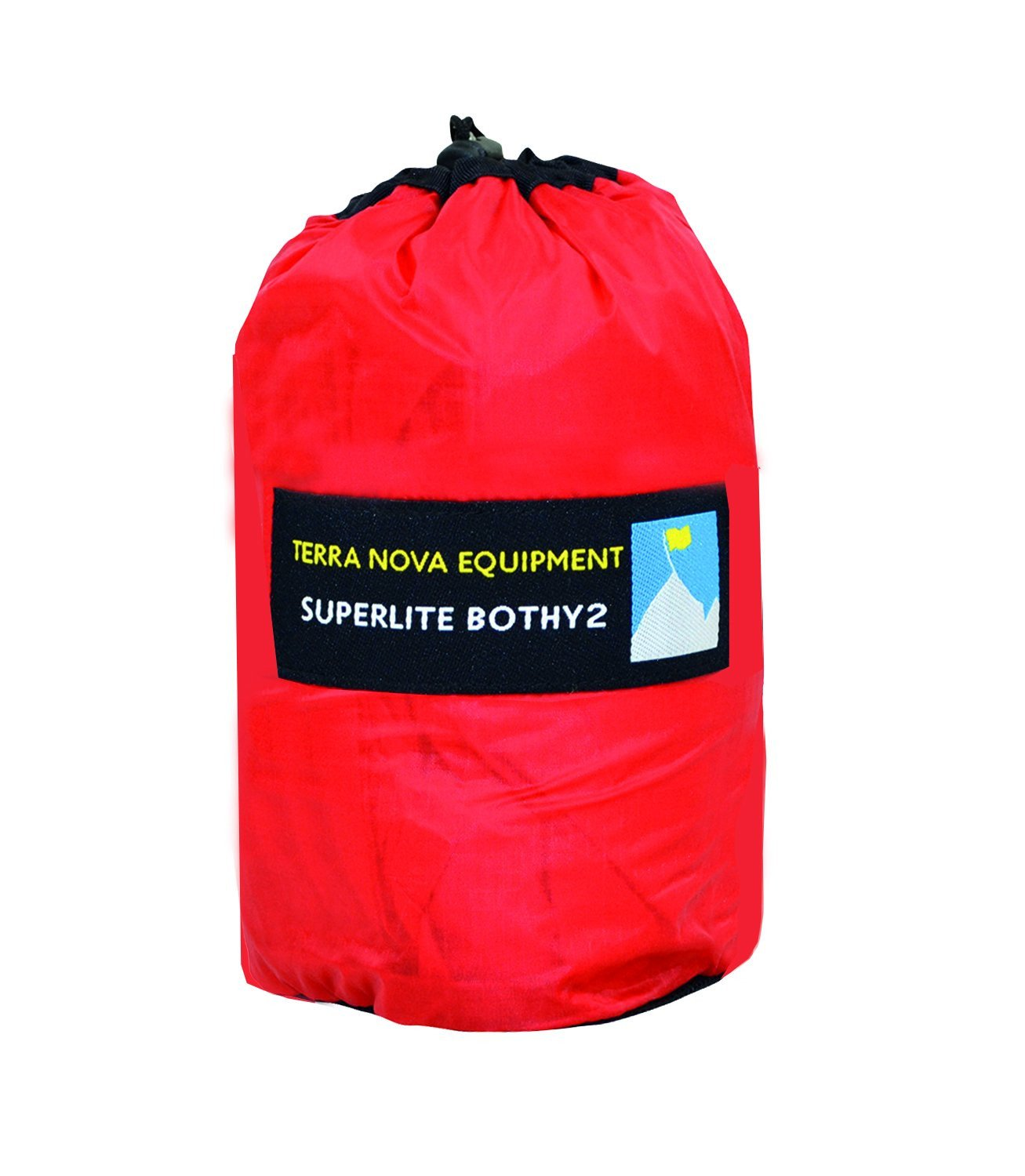 Terra Nova Superlite Bothy 2, an emergency survival shelter in a red stuff sack