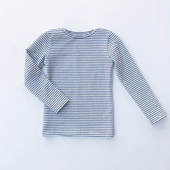 BASIC LONG SLEEVE TEE- NAVY STRIPE