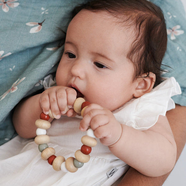 Wooden Teether, Flexible - Mix Caramel